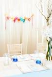 Einrichtung und Dekorationen im Hochzeitstag Lizenzfreies Stockfoto