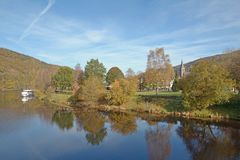 Einruhr,Eifel,North Rhine Westfalia,Germany. Village of Einruhr at Rur Reservoir in Eifel National Park,North Rhine Westfalia,Germany stock photography