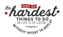Eins der härtesten Sache, zum im Leben zu tun ist, ohne Absicht auf Wiedergabe zu hören lizenzfreie abbildung