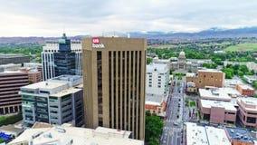 Eins der höchsten Gebäude in Boise Idaho und im Hauptgebäude stock video footage