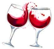 Eins mit Rotwein, man ist leer Stockfotografie