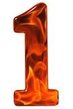 1, eins, Ziffer vom Glas mit einem abstrakten Muster eines Flammens Lizenzfreie Stockfotografie