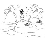 Einsam der Mann, der auf einer kleinen einsamen Insel lebt Lizenzfreie Stockfotografie