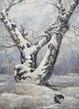 Einsame Eiche im Holz Stockbild