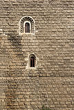 Einsame Fenster auf einem großen Kloster stockfotografie