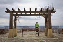 Einsame Frau, welche die Landschaft betrachtet lizenzfreies stockfoto