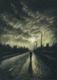 Einsame Passanten auf der Nachtstraße Stockfotografie