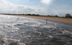 Einsame Person, die entlang den Strand geht Lizenzfreies Stockbild