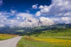 Einsame Straße in den italienischen Alpen Lizenzfreie Stockfotos