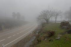 Einsame Straße im Nebel Stockbild