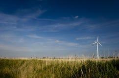 Einsame Wind-Turbine auf dem Gebiet stockfotos