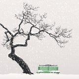 Einsamer Baum auf einer schneebedeckten Bank stock abbildung
