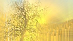 Einsamer Baum ohne Blätter im Nebel oder in Nebel beleuchtet durch Leuchtorangesonnengottstrahlen über Stadthintergrund Abbildung vektor abbildung