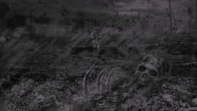 Einsamer Jäger geht gegen den Hintergrund einer Zombieapocalypse vektor abbildung