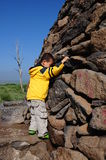Einsamer Junge auf dem Gebiet Stockbilder