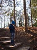 Einsamer Junge, der im Wald steht Stockfotos