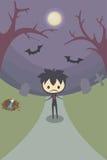 Einsamer Junge im Grab Stockbild