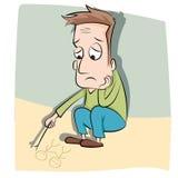 Einsamer Mann der Karikatur Stockbild
