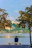 Einsamer Mann, der zwischen zwei Bäumen auf einer Bank sitzt und den See betrachtet Im Abstand können Sie die Insel sehen, auf de Stockbilder