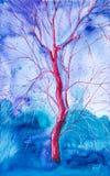 Einsamer roter Baum in den abstrakten blauen Wäldern des Hintergrundes Dekoratives Bild einer Flugwesenschwalbe ein Blatt Papier  lizenzfreie abbildung
