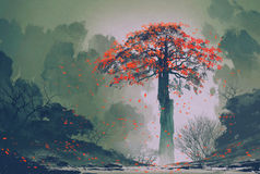 Einsamer roter Herbstbaum-Winterwald stock abbildung