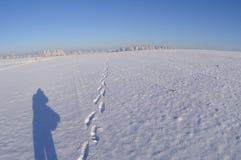 Einsamer Schatten mit Schritten auf einem Schnee umfasste Fläche Stockbild