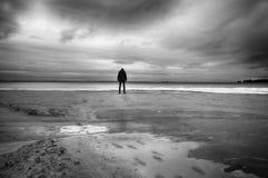 Einsamer Strand im Winter lizenzfreie stockfotos
