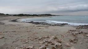 Einsamer Strand im Winter vor dem Sturm stock footage