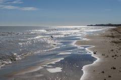 Einsamer Strand mit der Stadt von Torrevieja im Hintergrund lizenzfreies stockbild