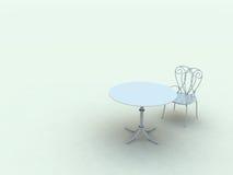 Einsamer Stuhl und Tabelle Lizenzfreie Stockbilder