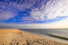 Einsamer und verwüsteter Strand stockfotos