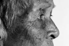 Einsames älteres Frauenporträt Lizenzfreies Stockfoto
