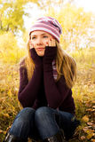 Einsames hübsches Mädchen stockbilder