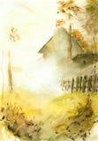 Einsames Haus im Nebel Stockfotografie