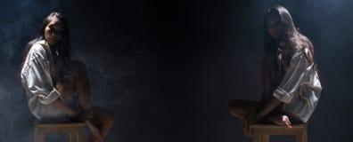 Einsames Mädchen des defekten Herzens kann schreien, Nebel auf dunklem Hintergrund zu rauchen lizenzfreie stockbilder