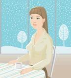 Einsames Mädchen und Teecup Lizenzfreies Stockfoto