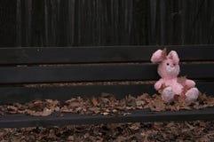 Einsames vergessenes verlassenes Teddybärspielzeughäschen/-kaninchen saßen auf einer Holzbank, die mit Herbstlaub bedeckt wurde stockfotografie