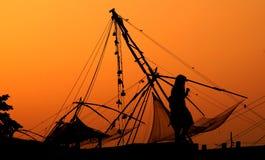 Einsamkeit an den chinesischen Fischernetzen Lizenzfreies Stockfoto