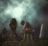 Einsamkeits-Mann-Verlust Mutter-der Sorgen machenden Finanzanzeigen-Illustration Lizenzfreies Stockfoto