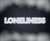 Einsamkeitsneonbeschriftung Traurige Stimmung Auch im corel abgehobenen Betrag vektor abbildung