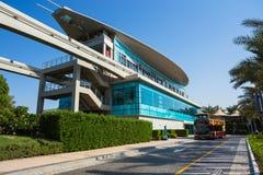 Einschienenbahnstation auf einer künstlichen Insel Palme Jumeirah Lizenzfreies Stockbild