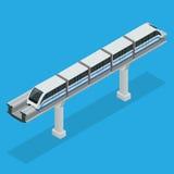 Einschienenbahnzug Himmel-Zug Isometrische Illustration des Vektors eines Himmel-Zugs Fahrzeuge entwarfen, viele zu transportiere Stockfoto