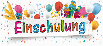 Einschulung Banner Balloons Buntings Letters Pencils. German text Einschulung, translate Enrollment vector illustration