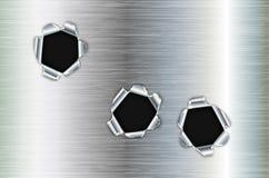 Einschusslöcher im Metall Lizenzfreie Stockfotos