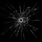 Einschussloch im Glas Stockfotos