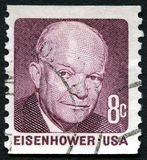 Einsenhower US Postage Stamp. UNITED STATES OF AMERICA - CIRCA 1971: A used postage stamp from the USA, depicting a portrait of former US President Dwight D Royalty Free Stock Photography
