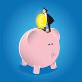 Einsparung-Geld in einer Piggy Querneigung Lizenzfreie Stockfotografie