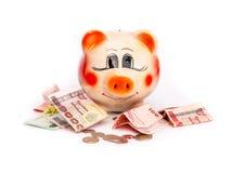 Einsparung, Sparschwein lizenzfreie stockfotografie