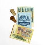 Einsparungen buchen sowjetische Zeiten und die Banknoten, die in den Berechnungen benutzt werden Stockbild