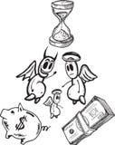 Einsparungen und Ausgabenkonzeptillustrationen mit Engel und Teufel Lizenzfreies Stockbild
